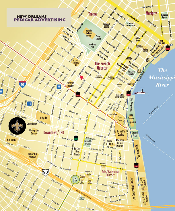 Magazine Street New Orleans Map.Where New Orleans Pedicab Advertising